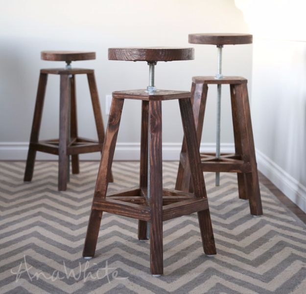 diy barstools - Industrial Adjustable Height Bolt Bar Stool - Easy and Cheap Ideas for Seating and Creative Home Decor - Do It Yourself Bar Stools for Modern, Rustic, Farmhouse, Shabby Chic, Industrial and Simple Classic Decor #barstools #diy