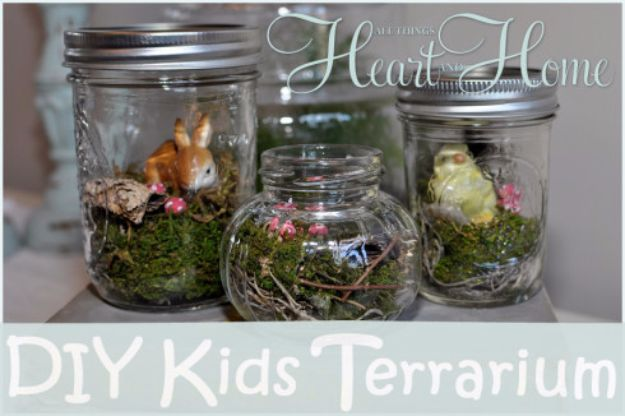 DIY Terrarium Ideas - Kids Terrarium - Cool Terrariums and Crafts With Mason Jars, Succulents, Wood, Geometric Designs and Reptile, Acquarium - Easy DIY Terrariums for Adults and Kids To Make at Home