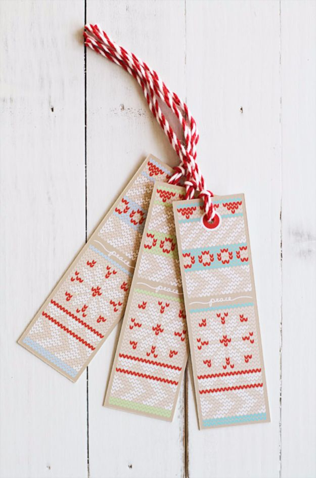 Homemade Gift Cards and Tags - Knit Gift Tags - Easy and Cheap Ideas for Creative Handmade Birthday, Christmas, Mothers Day and Father Day Cards - Cute Holiday Gift Tags, Dollar Store Crafts, Homemade DIY Gifts and Gift Card Holders You Can Make at Home - Fun Crafts for Adults, Kids and Teens #diygifts #gifttags