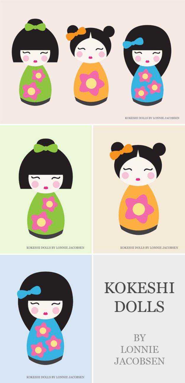 Best Free Printables For Your Walls - Kokeshi Dolls Free Printable - Free Prints for Wall Art and Picture to Print for Home and Bedroom Decor - Crafts to Make and Sell With Ideas for the Home, Organization #diy