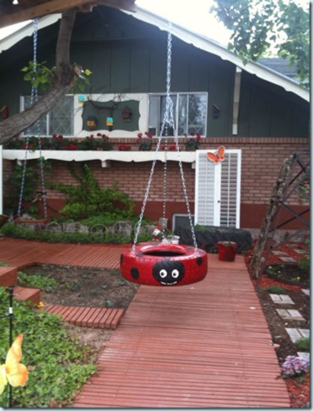 DIY Swings - Ladybug Tire Swing - Best Do It Yourself Swing Projects and Tutorials for Tire, Rocking, Hanging, Double Seat, Porch, Patio and Yard. Easy Ideas for Kids and Adults - Make The Best Backyard Ever This Summer With These Awesome Seating and Play Ideas for Swings - Creative Home Decor and Crafts by DIY JOY