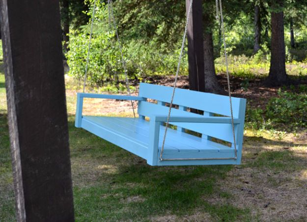 DIY Swings - Large Modern Porch Bench Swing - Best Do It Yourself Swing Projects and Tutorials for Tire, Rocking, Hanging, Double Seat, Porch, Patio and Yard. Easy Ideas for Kids and Adults - Make The Best Backyard Ever This Summer With These Awesome Seating and Play Ideas for Swings - Creative Home Decor and Crafts by DIY JOY