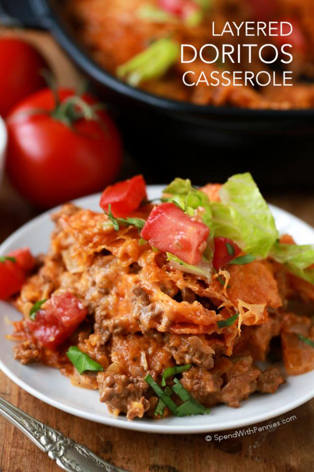 DIY Recipes Made With Doritos - Layered Doritos Casserole - Best Dorito Recipes for Casserole, Taco Salad, Chicken Dinners, Beef Casseroles, Nachos, Easy Cool Ranch Meals and Ideas for Dips, Snacks and Kids Recipe Tutorials - Quick Lunch Ideas and Recipes for Parties http://diyjoy.com/recipe-ideas-doritos