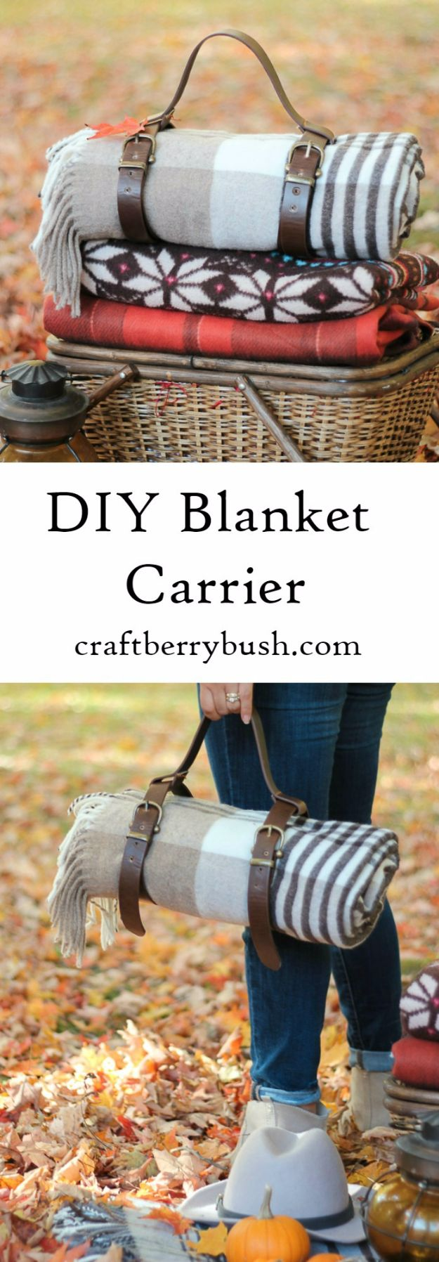 DIY Picnic Ideas - Leather Blanket Carrier DIY For Picnic - Cool Recipes and Tips for Picnics and Meals Outdoors - Recipes, Easy Sandwich Wraps, Blankets, Baskets and Carriers to Make for Fun Family Outings and Romantic Date Ideas - Mason Jar Drinks, Snack Holders, Utensil Caddy and Picnic Hacks