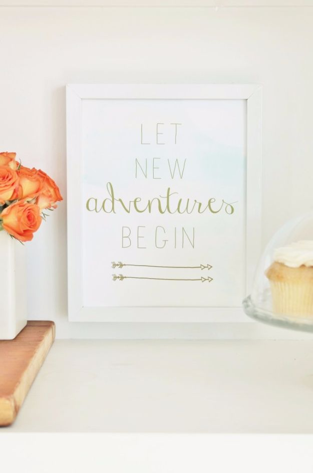 Best Free Printables For Your Walls - Let New Adventures Begin Free Printable - Free Prints for Wall Art and Picture to Print for Home and Bedroom Decor - Crafts to Make and Sell With Ideas for the Home, Organization #diy