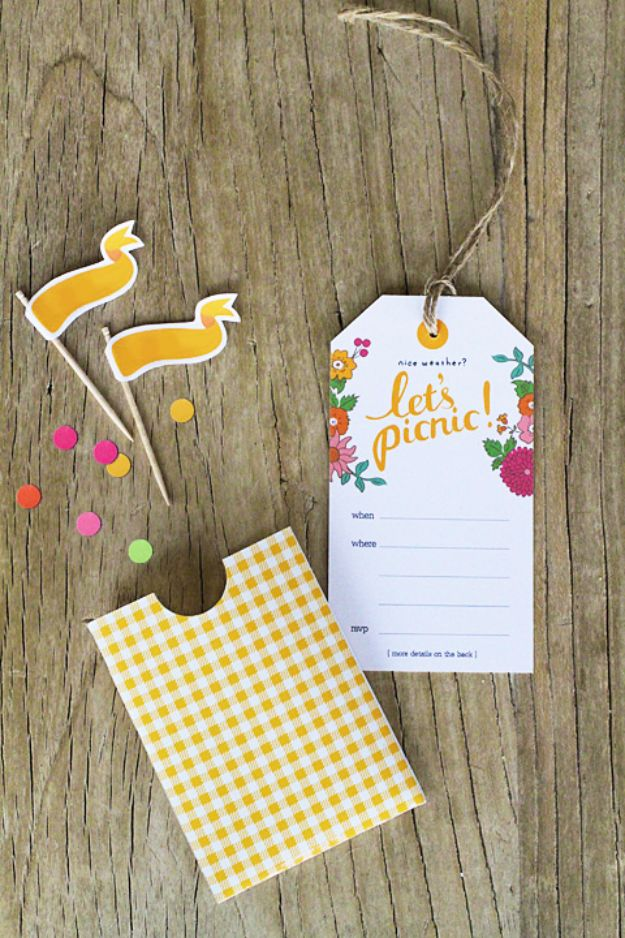 DIY Picnic Ideas - Let's Picnic Invitations - Cool Recipes and Tips for Picnics and Meals Outdoors - Recipes, Easy Sandwich Wraps, Blankets, Baskets and Carriers to Make for Fun Family Outings and Romantic Date Ideas - Mason Jar Drinks, Snack Holders, Utensil Caddy and Picnic Hacks