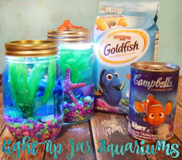 DIY Aquarium Ideas - Light Up Jar Aquarium - Cool and Easy Decorations for Tank Aquariums, Mason Jar, Wall and Stand Projects for Fish - Creative Background Ideas - Fun Tutorials for Kids to Make With Plants and Decor - Best Home Decor and Crafts by DIY JOY