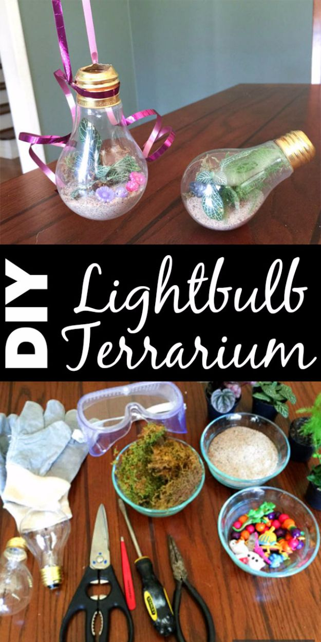 DIY Terrarium Ideas - Lightbulb Terrarium - Cool Terrariums and Crafts With Mason Jars, Succulents, Wood, Geometric Designs and Reptile, Acquarium - Easy DIY Terrariums for Adults and Kids To Make at Home http://diyjoy.com/diy-terrarium-ideas