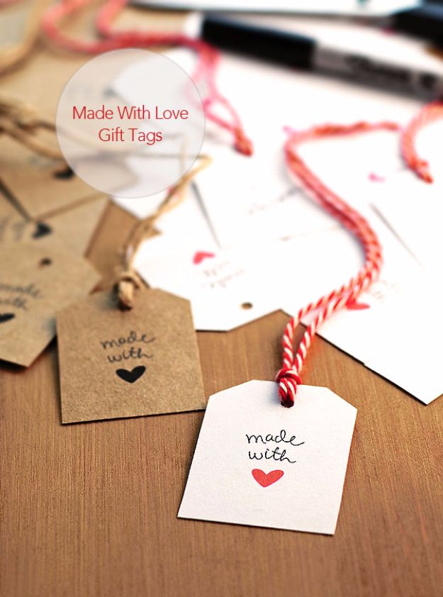 Homemade Gift Cards and Tags - Made With Love Gift Tags - Easy and Cheap Ideas for Creative Handmade Birthday, Christmas, Mothers Day and Father Day Cards - Cute Holiday Gift Tags, Dollar Store Crafts, Homemade DIY Gifts and Gift Card Holders You Can Make at Home - Fun Crafts for Adults, Kids and Teens http://diyjoy.com/homemade-gift-cards-tags