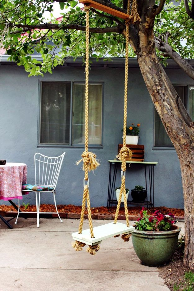 DIY Swings - Make Your Own Tree Swing - Best Do It Yourself Swing Projects and Tutorials for Tire, Rocking, Hanging, Double Seat, Porch, Patio and Yard. Easy Ideas for Kids and Adults - Make The Best Backyard Ever This Summer With These Awesome Seating and Play Ideas for Swings - Creative Home Decor and Crafts by DIY JOY