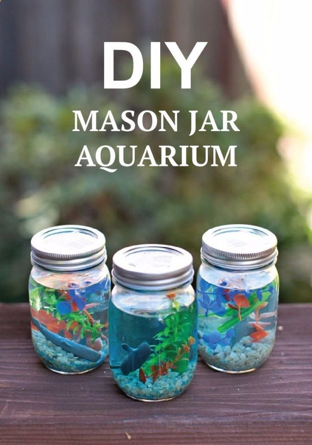 DIY Aquarium Ideas - Mason Jar Aquarium - Cool and Easy Decorations for Tank Aquariums, Mason Jar, Wall and Stand Projects for Fish - Creative Background Ideas - Fun Tutorials for Kids to Make With Plants and Decor - Best Home Decor and Crafts by DIY JOY
