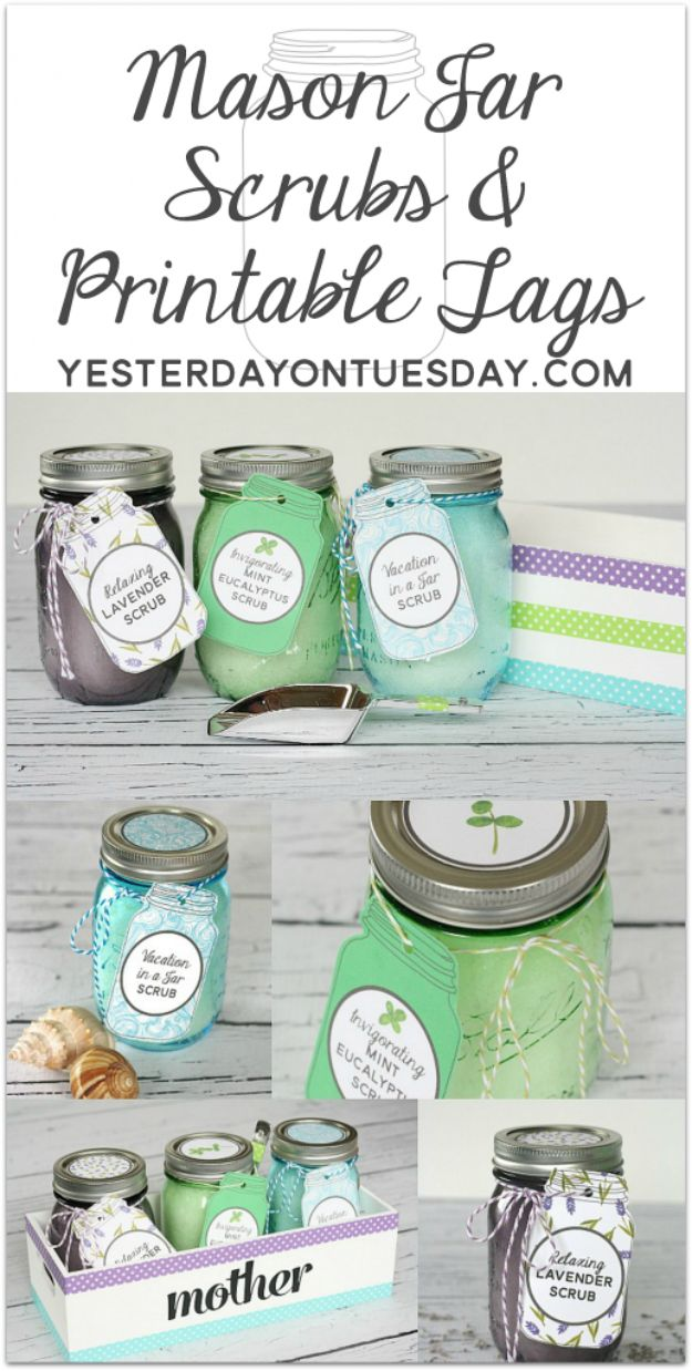Free Printables for Mason Jars - Mason Jar Scrubs And Printable Tags - Best Ideas for Tags and Printable Clip Art for Fun Mason Jar Gifts and Organization#masonjar #crafts #printables
