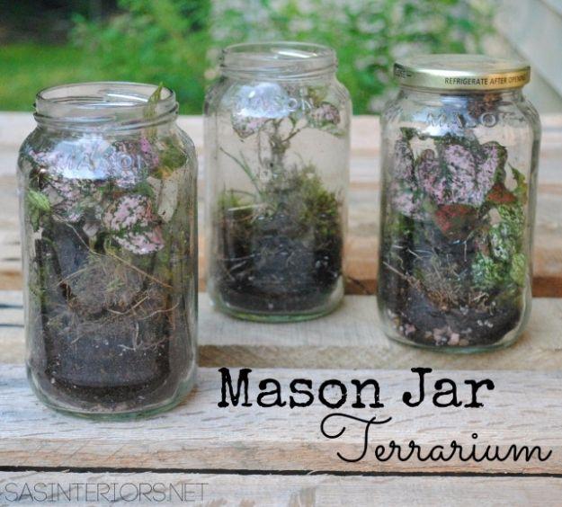 DIY Terrarium Ideas - Mason Jar Terrarium - Cool Terrariums and Crafts With Mason Jars, Succulents, Wood, Geometric Designs and Reptile, Acquarium - Easy DIY Terrariums for Adults and Kids To Make at Home http://diyjoy.com/diy-terrarium-ideas