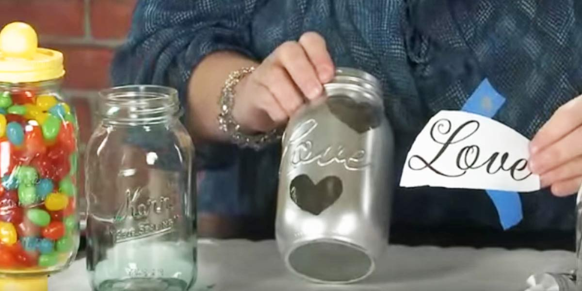 She Puts Hot Glue On A Mason Jar, Then Takes Paint To ...
