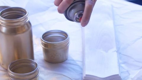 She Spray Paints Jars And Wood Gold, But What She Does Next Is Super Cool (Watch!) | DIY Joy Projects and Crafts Ideas