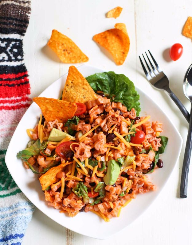 DIY Recipes Made With Doritos - Mexican Chef Pasta Salad - Best Dorito Recipes for Casserole, Taco Salad, Chicken Dinners, Beef Casseroles, Nachos, Easy Cool Ranch Meals and Ideas for Dips, Snacks and Kids Recipe Tutorials - Quick Lunch Ideas and Recipes for Parties http://diyjoy.com/recipe-ideas-doritos