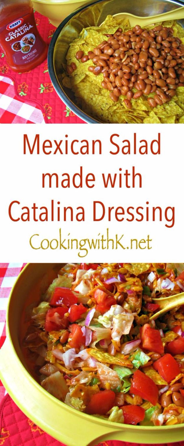 DIY Recipes Made With Doritos - Mexican Salad With Catalina Dressing - Best Dorito Recipes for Casserole, Taco Salad, Chicken Dinners, Beef Casseroles, Nachos, Easy Cool Ranch Meals and Ideas for Dips, Snacks and Kids Recipe Tutorials - Quick Lunch Ideas and Recipes for Parties http://diyjoy.com/recipe-ideas-doritos