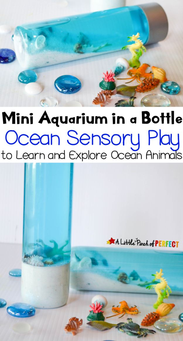 DIY Aquarium Ideas - Mini Aquarium In A Botttle - Cool and Easy Decorations for Tank Aquariums, Mason Jar, Wall and Stand Projects for Fish - Creative Background Ideas - Fun Tutorials for Kids to Make With Plants and Decor - Best Home Decor and Crafts by DIY JOY