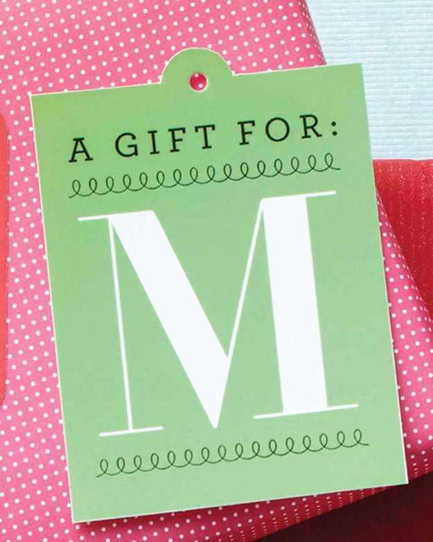 Homemade Gift Cards and Tags - Monogram Gift Tags - Easy and Cheap Ideas for Creative Handmade Birthday, Christmas, Mothers Day and Father Day Cards - Cute Holiday Gift Tags, Dollar Store Crafts, Homemade DIY Gifts and Gift Card Holders You Can Make at Home - Fun Crafts for Adults, Kids and Teens #diygifts #gifttags