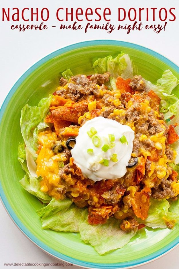 DIY Recipes Made With Doritos - Nacho Cheese Doritos Casserole - Best Dorito Recipes for Casserole, Taco Salad, Chicken Dinners, Beef Casseroles, Nachos, Easy Cool Ranch Meals and Ideas for Dips, Snacks and Kids Recipe Tutorials - Quick Lunch Ideas and Recipes for Parties http://diyjoy.com/recipe-ideas-doritos