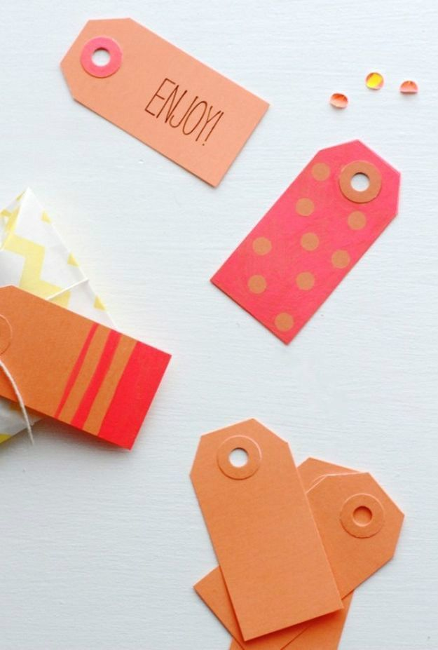 Homemade Gift Cards and Tags - Neon Color Block Gift Tags - Easy and Cheap Ideas for Creative Handmade Birthday, Christmas, Mothers Day and Father Day Cards - Cute Holiday Gift Tags, Dollar Store Crafts, Homemade DIY Gifts and Gift Card Holders You Can Make at Home - Fun Crafts for Adults, Kids and Teens #diygifts #gifttags