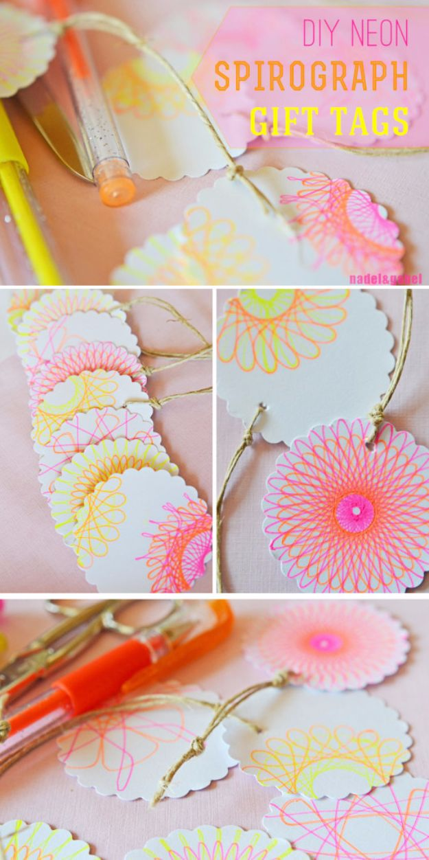 Homemade Gift Cards and Tags - Neon Spirograph Gift Tags - Easy and Cheap Ideas for Creative Handmade Birthday, Christmas, Mothers Day and Father Day Cards - Cute Holiday Gift Tags, Dollar Store Crafts, Homemade DIY Gifts and Gift Card Holders You Can Make at Home - Fun Crafts for Adults, Kids and Teens http://diyjoy.com/homemade-gift-cards-tags