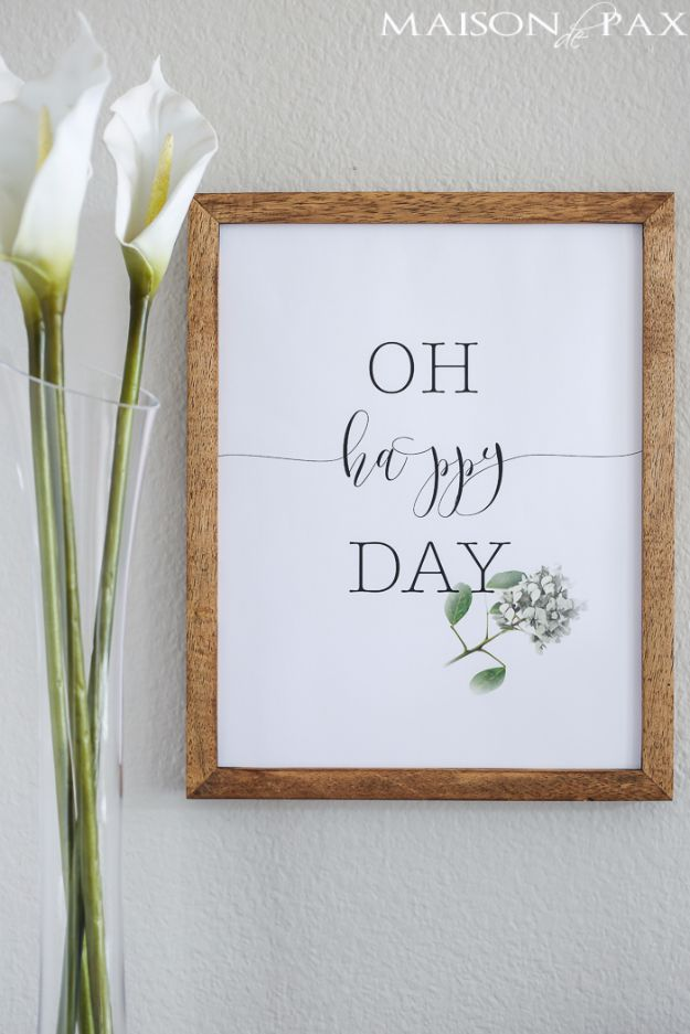 Best Free Printables For Your Walls - Oh Happy Day Free Printable - Free Prints for Wall Art and Picture to Print for Home and Bedroom Decor - Crafts to Make and Sell With Ideas for the Home, Organization #diy