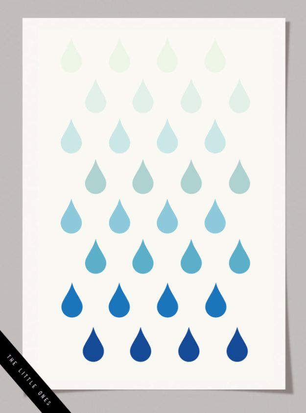 Best Free Printables For Your Walls - Ombre Raindrops Print - Free Prints for Wall Art and Picture to Print for Home and Bedroom Decor - Crafts to Make and Sell With Ideas for the Home, Organization #diy