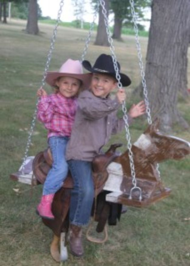 DIY Swings - Outdoor Horse And Saddle Swing - Best Do It Yourself Swing Projects and Tutorials for Tire, Rocking, Hanging, Double Seat, Porch, Patio and Yard. Easy Ideas for Kids and Adults - Make The Best Backyard Ever This Summer With These Awesome Seating and Play Ideas for Swings - Creative Home Decor and Crafts by DIY JOY
