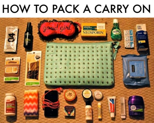 Packing Tips for Travel - Pack A Carry On - Easy Ideas for Packing a Suitcase To Maximize Space - Tricks and Hacks for Folding Clothes, Storing Toiletries, Shampoo and Makeup - Keep Clothing Wrinkle Free in Your Bag http://diyjoy.com/packing-tips-travel