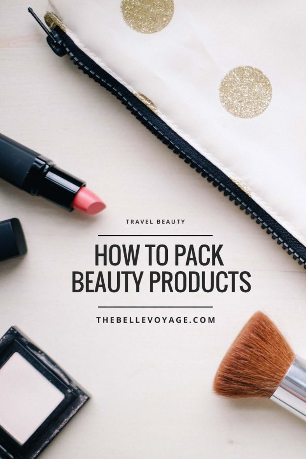 Packing Tips for Travel - Packing Beauty Products For Travel - Easy Ideas for Packing a Suitcase To Maximize Space - Tricks and Hacks for Folding Clothes, Storing Toiletries, Shampoo and Makeup - Keep Clothing Wrinkle Free in Your Bag http://diyjoy.com/packing-tips-travel