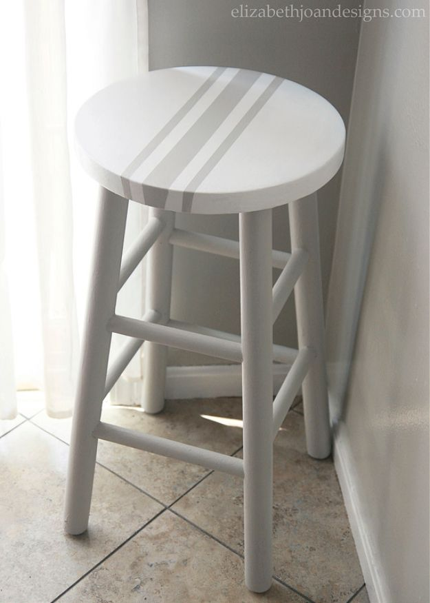 diy barstools - Painted Grain Sack Stripe Bar Stool - Easy and Cheap Ideas for Seating and Creative Home Decor - Do It Yourself Bar Stools for Modern, Rustic, Farmhouse, Shabby Chic, Industrial and Simple Classic Decor #barstools #diy