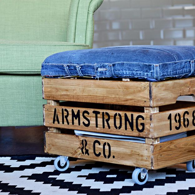 DIY Mancave Decor Ideas - Personalized DIY Ottoman Using Jeans and a Wooden Crate - Step by Step Tutorials and Do It Yourself Projects for Your Man Cave - Easy DIY Furniture, Wall Art, Sinks, Coolers, Storage, Shelves, Games, Seating and Home Decor for Your Garage Room - Fun DIY Projects and Crafts for Men http://diyjoy.com/diy-mancave-ideas