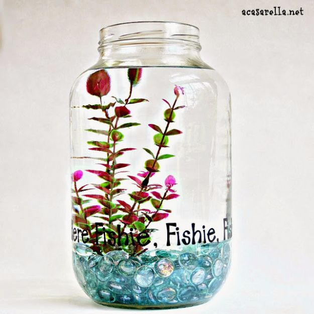 DIY Aquarium Ideas - Pickle Jar Fish Bowl - Cool and Easy Decorations for Tank Aquariums, Mason Jar, Wall and Stand Projects for Fish - Creative Background Ideas - Fun Tutorials for Kids to Make With Plants and Decor - Best Home Decor and Crafts by DIY JOY http://diyjoy.com/diy-aquariums