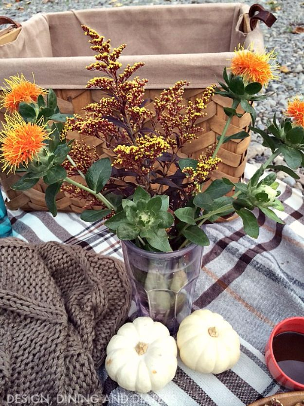 DIY Picnic Ideas - Picnic Blanket Centerpiece - Cool Recipes and Tips for Picnics and Meals Outdoors - Recipes, Easy Sandwich Wraps, Blankets, Baskets and Carriers to Make for Fun Family Outings and Romantic Date Ideas - Mason Jar Drinks, Snack Holders, Utensil Caddy and Picnic Hacks