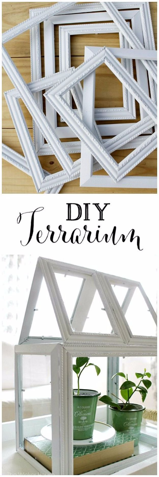 DIY Terrarium Ideas - Picture Frame Greenhouse Terrarium - Cool Terrariums and Crafts With Mason Jars, Succulents, Wood, Geometric Designs and Reptile, Acquarium - Easy DIY Terrariums for Adults and Kids To Make at Home http://diyjoy.com/diy-terrarium-ideas