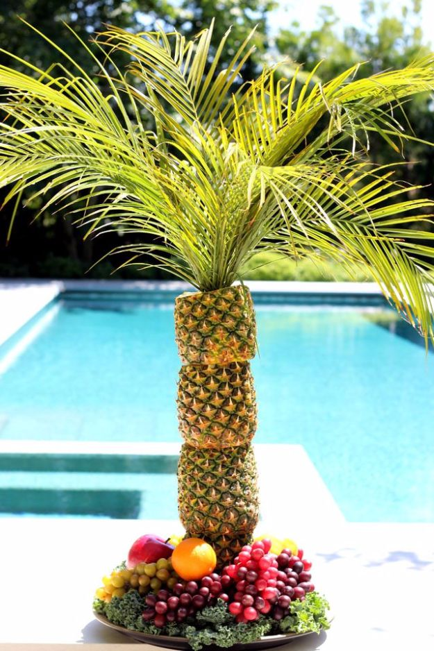DIY Picnic Ideas - Pineapple Palm Tree For Serving - Cool Recipes and Tips for Picnics and Meals Outdoors - Recipes, Easy Sandwich Wraps, Blankets, Baskets and Carriers to Make for Fun Family Outings and Romantic Date Ideas - Mason Jar Drinks, Snack Holders, Utensil Caddy and Picnic Hacks