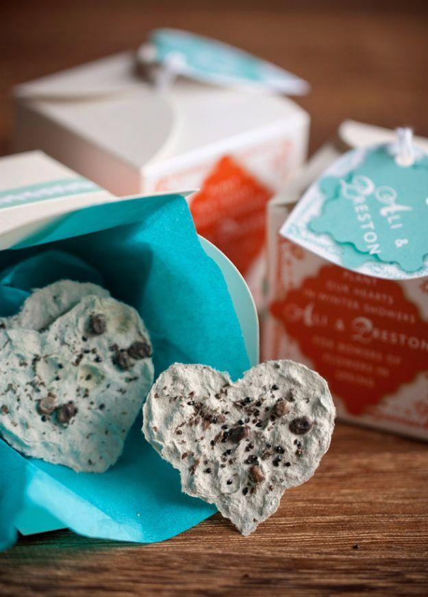 DIY Wedding Favors - Plantable Paper Hearts Favors - Do It Yourself Ideas for Brides and Best Wedding Favor Ideas for Weddings - Step by Step Tutorials for Making Mason Jars, Rustic Crafts, Flowers, Small Gifts, Modern Decor, Vintage and Cheap Ideas for Couples on A Budget Outdoor and Indoor Weddings http://diyjoy.com/diy-wedding-favors
