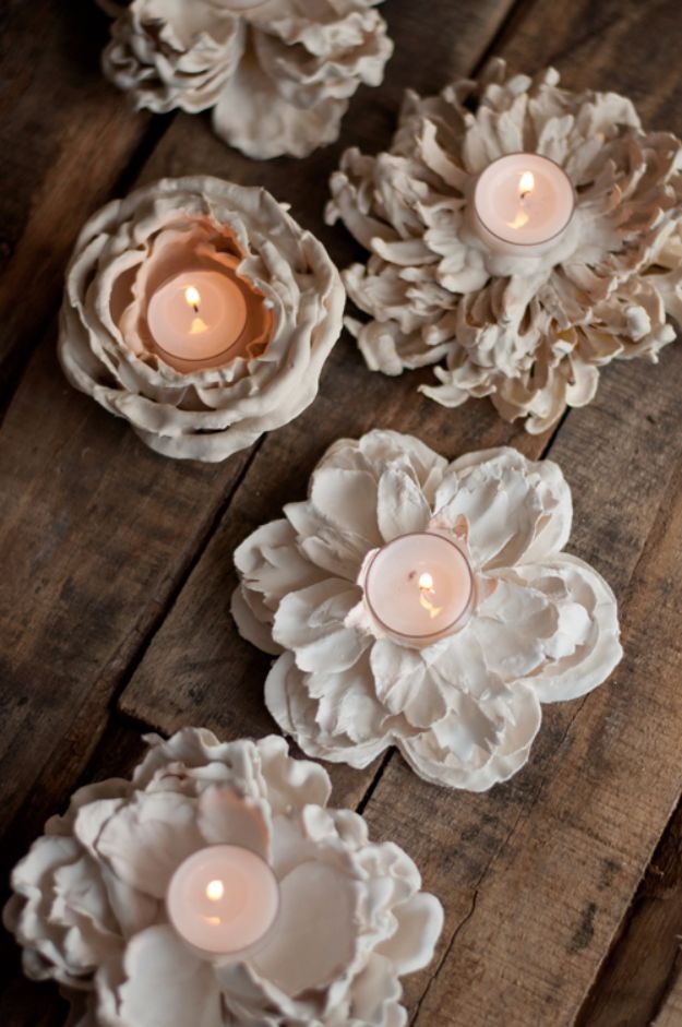 DIY Wedding Centerpieces - Plaster Dipped Flower Votives - Do It Yourself Ideas for Brides and Best Centerpiece Ideas for Weddings - Step by Step Tutorials for Making Mason Jars, Rustic Crafts, Flowers, Modern Decor, Vintage and Cheap Ideas for Couples on A Budget Outdoor and Indoor Weddings http://diyjoy.com/diy-wedding-centerpieces