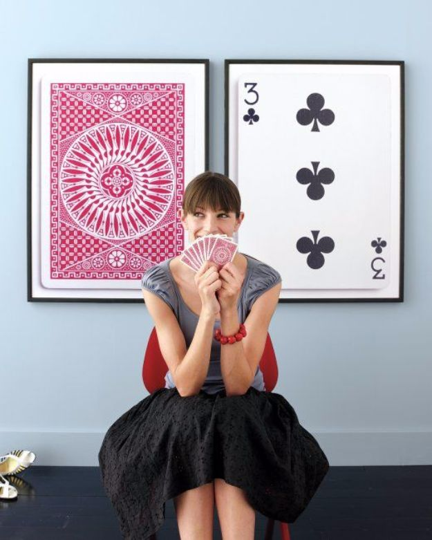 DIY Mancave Decor Ideas - Poker Card Wall Decal - Step by Step Tutorials and Do It Yourself Projects for Your Man Cave - Easy DIY Furniture, Wall Art, Sinks, Coolers, Storage, Shelves, Games, Seating and Home Decor for Your Garage Room - Fun DIY Projects and Crafts for Men http://diyjoy.com/diy-mancave-ideas