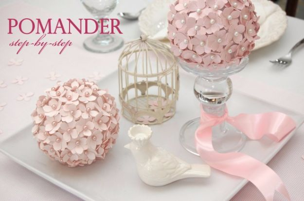 DIY Wedding Centerpieces - Pomander Flower Ball - Do It Yourself Ideas for Brides and Best Centerpiece Ideas for Weddings - Step by Step Tutorials for Making Mason Jars, Rustic Crafts, Flowers, Modern Decor, Vintage and Cheap Ideas for Couples on A Budget Outdoor and Indoor Weddings http://diyjoy.com/diy-wedding-centerpieces