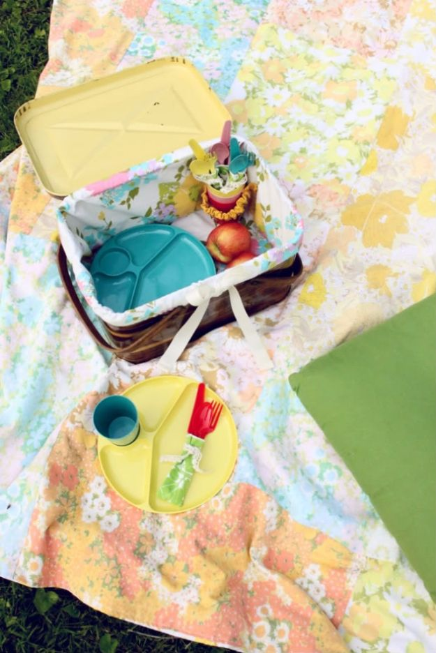 DIY Picnic Ideas - Pretty Up Your Picnic Basket DIY - Cool Recipes and Tips for Picnics and Meals Outdoors - Recipes, Easy Sandwich Wraps, Blankets, Baskets and Carriers to Make for Fun Family Outings and Romantic Date Ideas - Mason Jar Drinks, Snack Holders, Utensil Caddy and Picnic Hacks