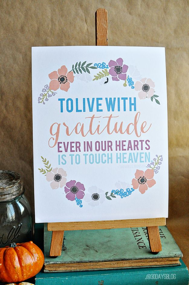 Best Free Printables For Your Walls - Printable Gratitude Quotes - Free Prints for Wall Art and Picture to Print for Home and Bedroom Decor - Crafts to Make and Sell With Ideas for the Home, Organization #diy
