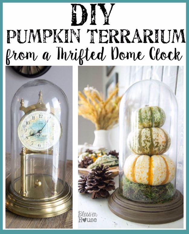DIY Terrarium Ideas - Pumpkin Terrarium - Cool Terrariums and Crafts With Mason Jars, Succulents, Wood, Geometric Designs and Reptile, Acquarium - Easy DIY Terrariums for Adults and Kids To Make at Home http://diyjoy.com/diy-terrarium-ideas