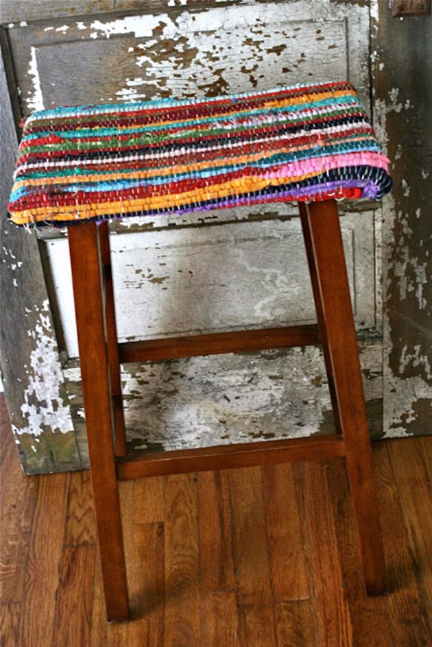 diy barstools - Rag Rug Stools - Easy and Cheap Ideas for Seating and Creative Home Decor - Do It Yourself Bar Stools for Modern, Rustic, Farmhouse, Shabby Chic, Industrial and Simple Classic Decor #barstools #diy