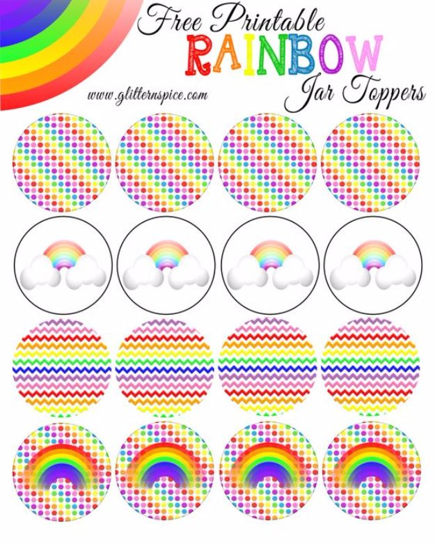 Free Printables for Mason Jars - Rainbow In A Jar Free Printables - Best Ideas for Tags and Printable Clip Art for Fun Mason Jar Gifts and Organization#masonjar #crafts #printables