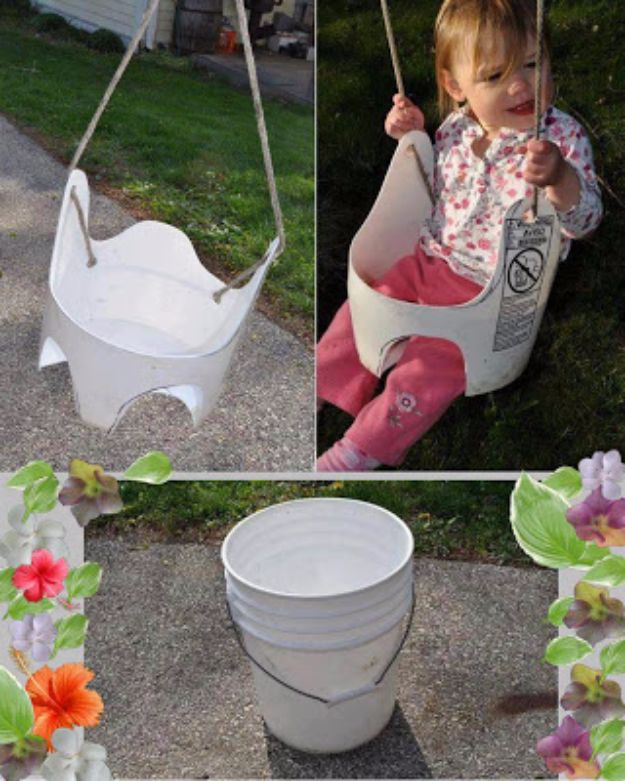 DIY Swings - Recycled Bucket Swing - Best Do It Yourself Swing Projects and Tutorials for Tire, Rocking, Hanging, Double Seat, Porch, Patio and Yard. Easy Ideas for Kids and Adults - Make The Best Backyard Ever This Summer With These Awesome Seating and Play Ideas for Swings - Creative Home Decor and Crafts by DIY JOY