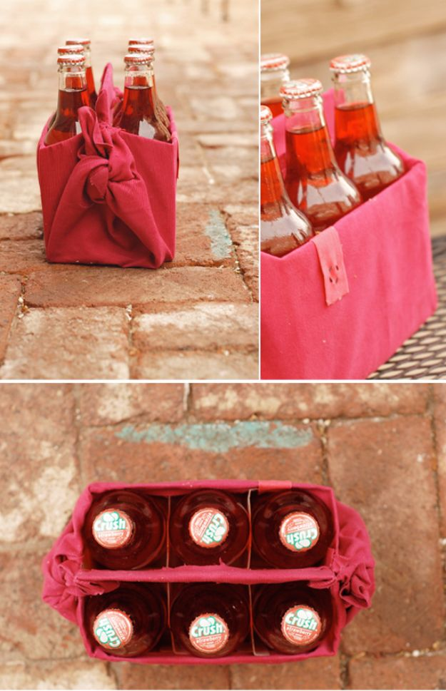DIY Picnic Ideas - Reusable Drink Carrier - Cool Recipes and Tips for Picnics and Meals Outdoors - Recipes, Easy Sandwich Wraps, Blankets, Baskets and Carriers to Make for Fun Family Outings and Romantic Date Ideas - Mason Jar Drinks, Snack Holders, Utensil Caddy and Picnic Hacks