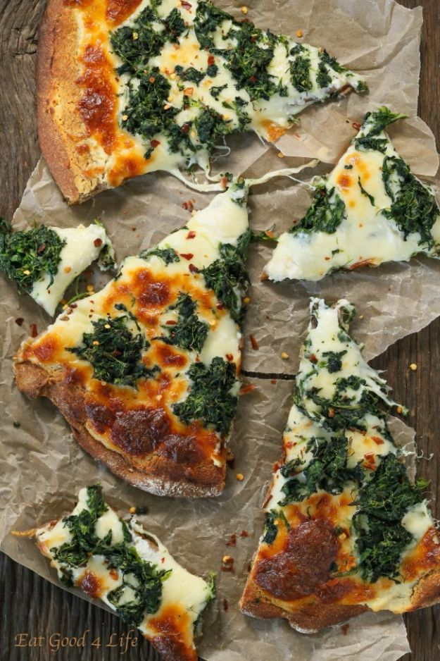Best Spinach Recipes - Roasted Garlic Spinach White Pizza - Easy, Healthy Lowfat Recipe Ideas for Dinner, Salads, Lunches, Sides, Smoothies and Even Dessert - Qucik and Creative Ideas for Vegetables - Cheesy, Creamed, Country Style Favorites for Family and For Kids http://diyjoy.com/best-spinach-recipes