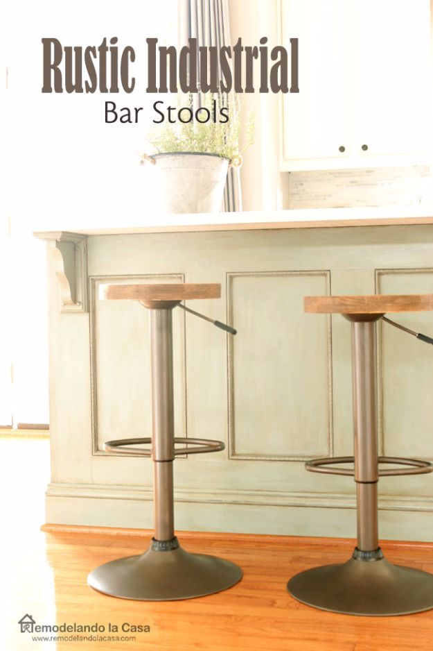 diy barstools - Rustic Industrial Bar Stools - Easy and Cheap Ideas for Seating and Creative Home Decor - Do It Yourself Bar Stools for Modern, Rustic, Farmhouse, Shabby Chic, Industrial and Simple Classic Decor #barstools #diy